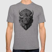 Bison Mens Fitted Tee Tri-Grey SMALL