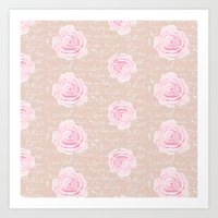 Watercolor Roses on Blush with French Script Art Print