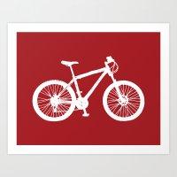 Mountain Bike Red Art Print