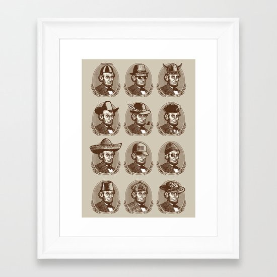 Abe Tries on Hats Framed Art Print
