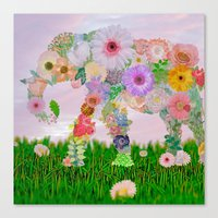 Elephant In My Garden Canvas Print