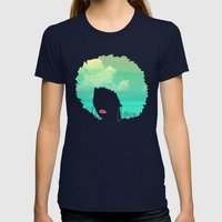 Afro Womens Fitted Tee Navy SMALL