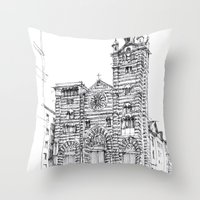Cattedrale di Genova schizzo di studio Throw Pillow
