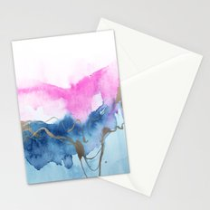 Abstract Watercolor Pink Blue Stationery Cards