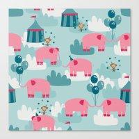 Pink Elephant Circus Canvas Print