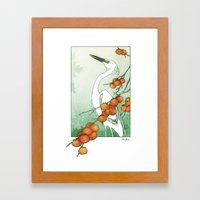 Egret And Persimmons Framed Art Print