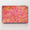 Hot Pink and Gold Baroque Floral Pattern iPad Case