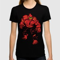 Angry Bird Hulk Red Womens Fitted Tee Black SMALL