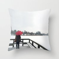 Copenhagen - Red Umbrella Throw Pillow