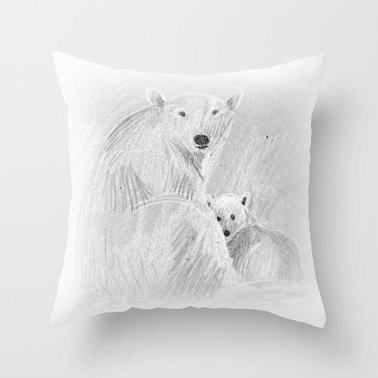 arctic bears Throw Pillow