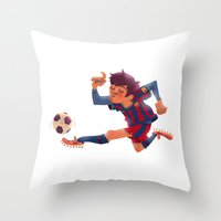 Lionel Messi, Barcelona Jersey Throw Pillow
