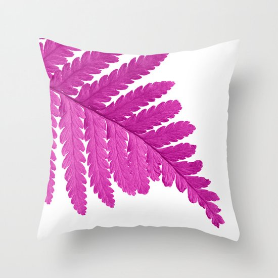 pink fern leaf I Throw Pillow