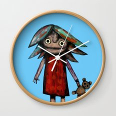 Girl vith teddy bear Wall Clock