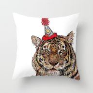 Tiger Party Throw Pillow