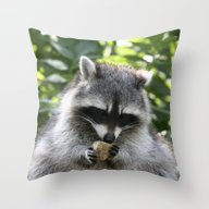 Throw Pillow featuring Raccoon20150115 by Jamfoto