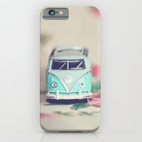 Aqua VW Bus with Roses iPhone 6 Slim Case