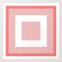 Greek Key Coral Art Print