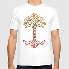Woven Tree of Life Mens Fitted Tee White SMALL