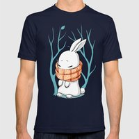 Winter Bunny Mens Fitted Tee Navy SMALL
