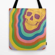 Trippy Rainbow Skull Tote Bag
