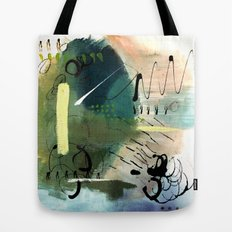 Shooting Star - a minimal nk and acrylic abstract with black, green, and blue  Tote Bag