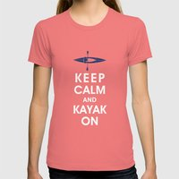 Keep Calm and Kayak On Womens Fitted Tee Pomegranate SMALL