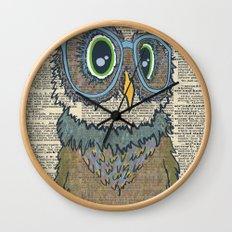 Owl wearing glasses Wall Clock