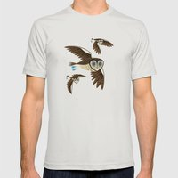 Owls On The Prowl Mens Fitted Tee Silver SMALL