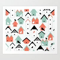 Birds And Houses Art Print