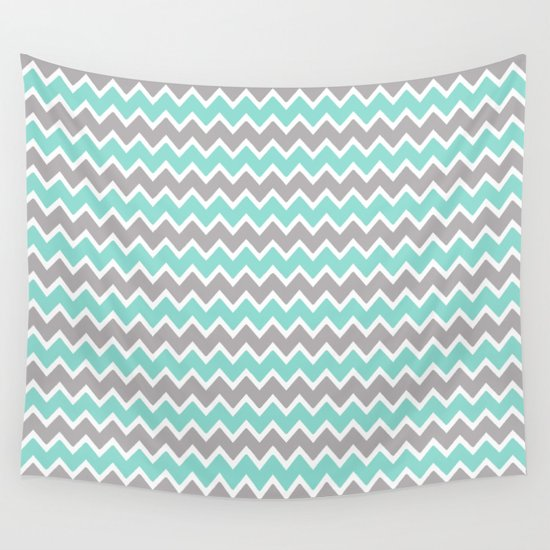 aqua turquoise blue and grey gray chevron wall tapestry by decampstudios society6. Black Bedroom Furniture Sets. Home Design Ideas