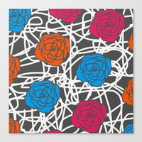 MULTI ROSE SQUIGGLE Canvas Print