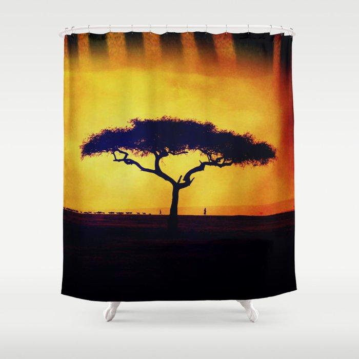 African Farmers Sunset Zebra Shower Curtain By Minx267