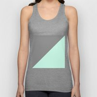 Grey And Mint Half Trian… Unisex Tank Top
