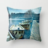 Boats in blue Throw Pillow