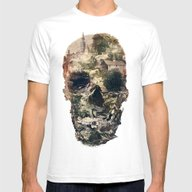 Skull Town Mens Fitted Tee White SMALL