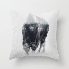 Bison In Mist Throw Pillow