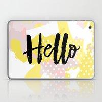 Hello Hello Hello Yellow and pink abstract Laptop & iPad Skin
