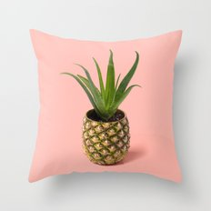 Pineapple Cactus pot Throw Pillow