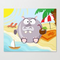 Hippo on the beach July month series Canvas Print