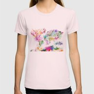 World Map Womens Fitted Tee Light Pink SMALL