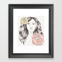 Whimsical Face with Pastel Roses Framed Art Print
