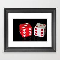 Dice Hearts Framed Art Print