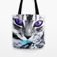 Purple Eyes Cat Tote Bag