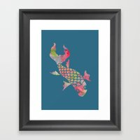 Rainbow Koi Fish Framed Art Print