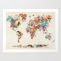 Art Prints featuring world map watercolor deux by bri.buckley