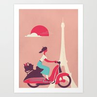 French girl on a Scooter Art Print
