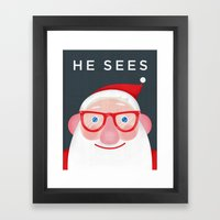 Santa Sees (2) Framed Art Print