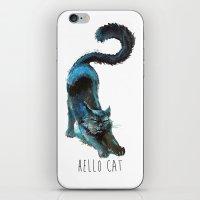 Black Blue Cat Stretching Drawing  iPhone & iPod Skin