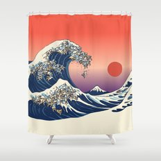 The Great Wave Of Englis… Shower Curtain