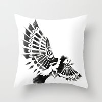 Raven Crow Shaman Tribal… Throw Pillow